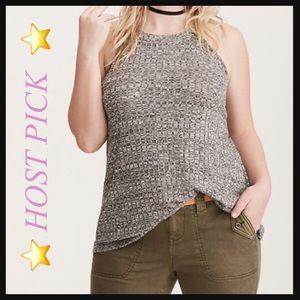 TORRID   Ribbed knit high neck grey tank top